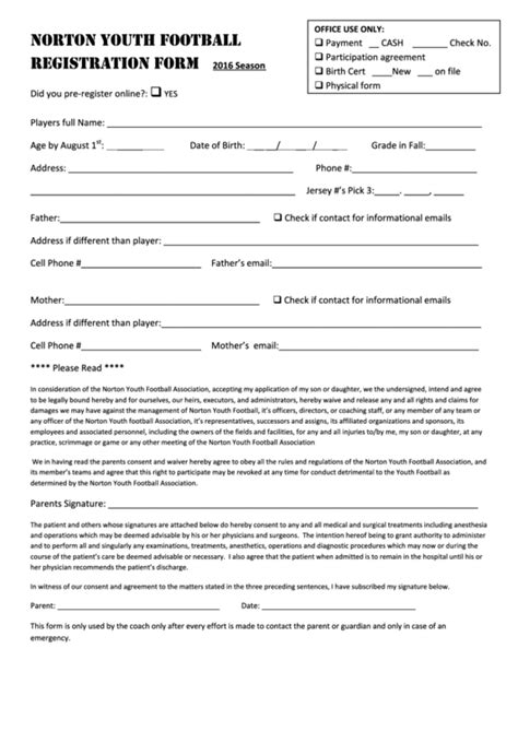 Norton Youth Football Registration Form Printable Pdf Download Football C Registration Form Template