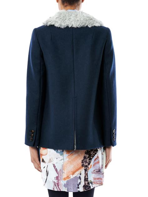 faux shearling drape jacket lyst carven faux fur drape collar jacket in blue