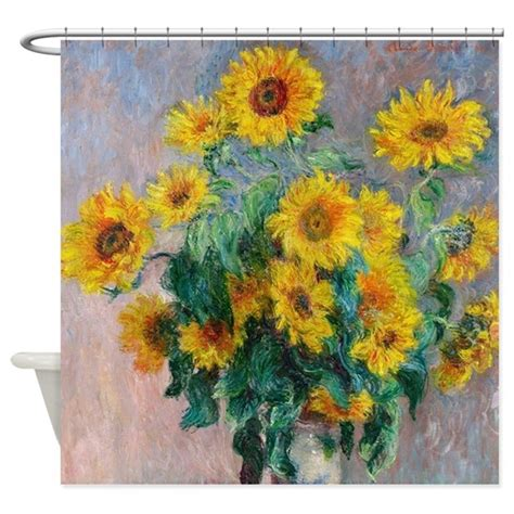 sunflower shower curtains claude monet sunflowers shower curtain by admin cp2452714
