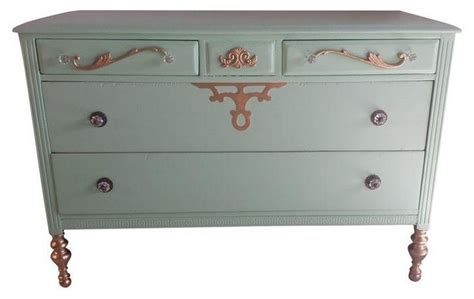 Seafoam Green Dresser by Pre Owned Shabby Chic Seafoam Green Gold Dresser