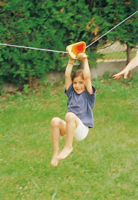 zipline for kids backyard zip line trolley backyard ideas for kids pinterest
