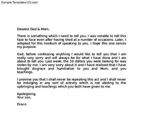 Apology Letter Template For Stealing Apology Letter To For Stealing Sle Templates