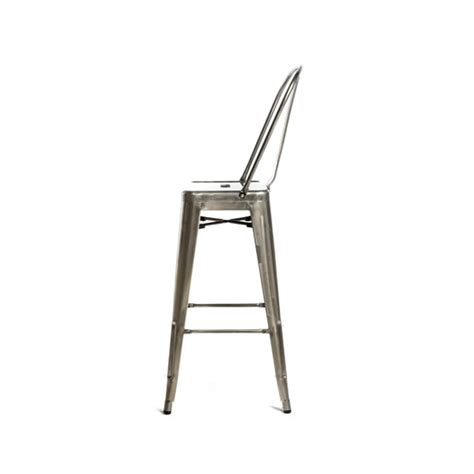 Bar Stools Brushed Nickel by High Back Galvanized Brushed Nickel Finish Bar Stool