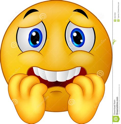 scared smiley cartoon scared emoticon smiley stock vector image 46947803