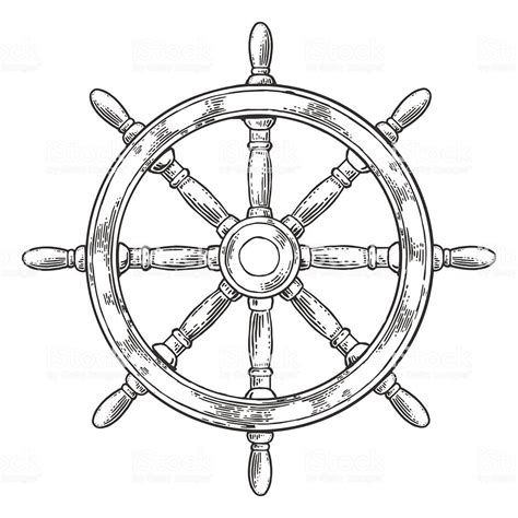 boat steering wheel drawing ship wheel isolated on white background stock vector art