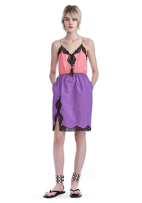 Roll Neck Slip Dress v neck slip dress with bungee waist dress wang official site
