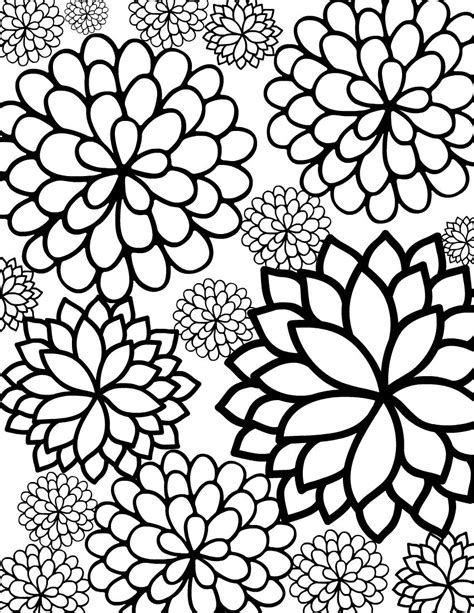 grown up coloring pages of flowers free printable bursting blossoms flower coloring page