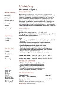 business intelligence resume exle sle template