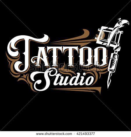 tattoo logo vector studio logo templates on black background