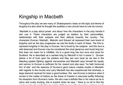 Themes Of Kingship In Macbeth | the theme of kingship is examined in the play of macbeth