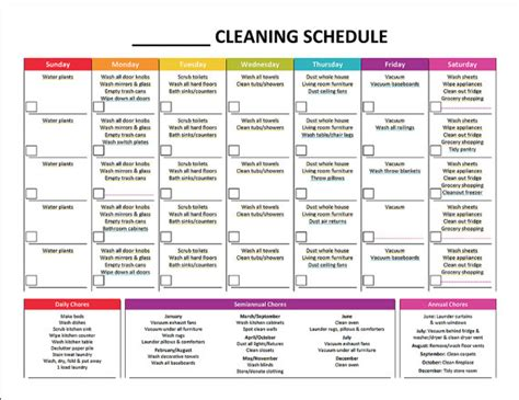 House Schedule by Printable Cleaning Schedule Master House Cleaning List