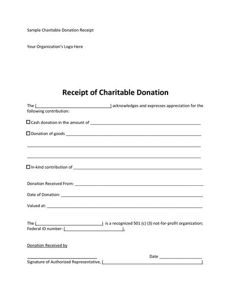 501 c 3 donation receipt template 6 best images of 501c3 donation receipt template charity