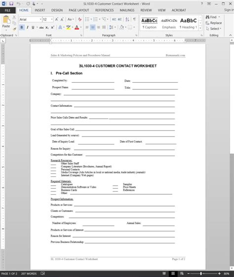 client contact card template word customer contact worksheet template