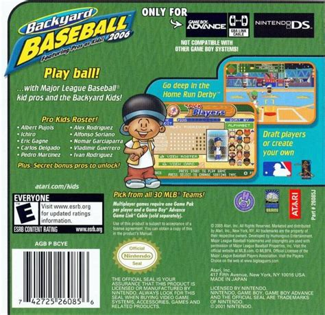 Backyard Baseball Gameboy Advance Backyard Baseball 2006 Box For Boy Advance