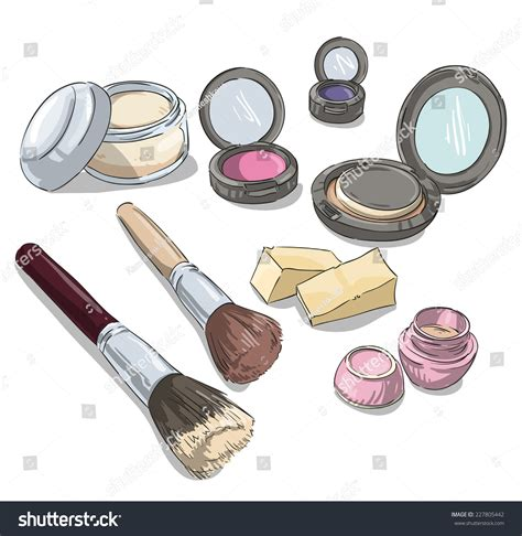 makeup products drawing fashion illustration stock vector