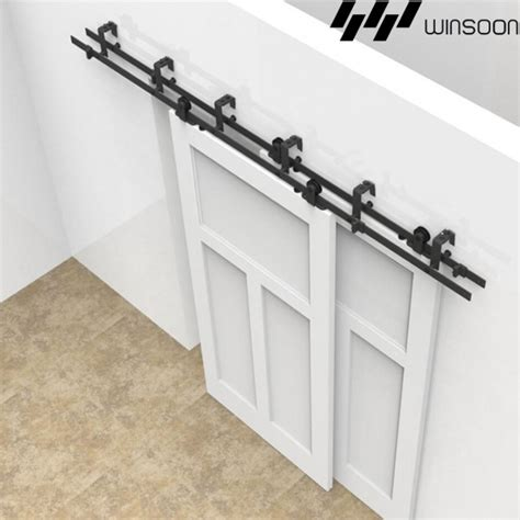 Bypass Barn Door Track Winsoon 5 16ft Sliding Bypass Barn Door Hardware Doors Track Kit New