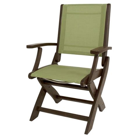 Patio Folding Chairs Polywood Mahogany Kiwi Sling Coastal Patio Folding Chair 9000 Ma911 The Home Depot