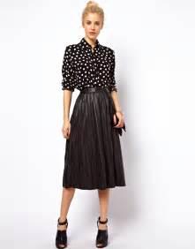 black pleated leather midi skirt asos midi skirt in