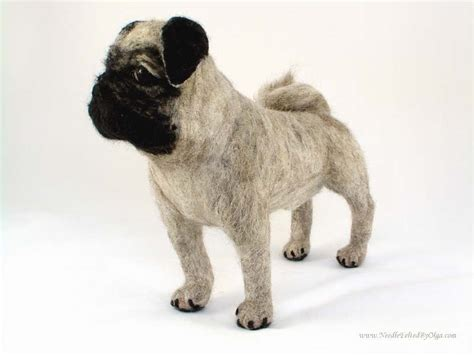 needle felted pug needle felted sculpture of bubba the pug by olga timofeevski