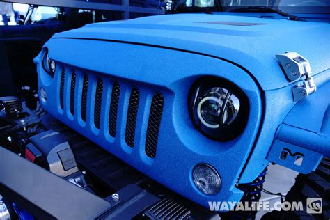 linex jeep blue 2014 sema starwood motors blue vpr jeep jk wrangler unlimited