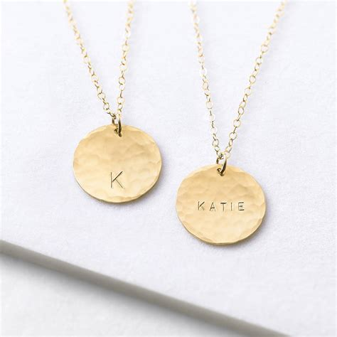 personalised hammered gold disc necklace by minetta