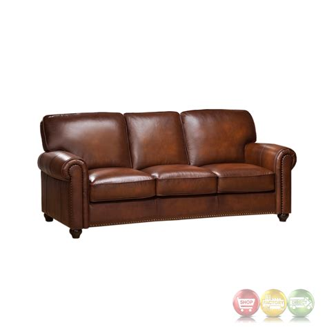 leather nailhead sectional royale olive brown genuine leather sofa with nailhead trim