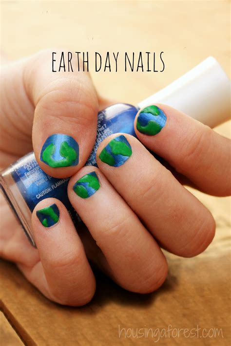 earth day nails housing a forest
