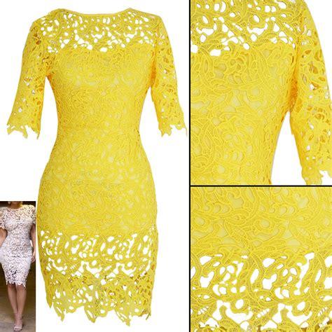 Yellow Lace Flower Dress Size Mlxl 12648 plus size brazil yellow crochet lace bandage bodycon dress s vintage floral boho