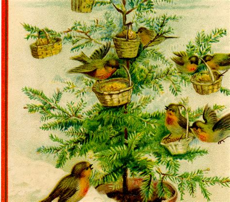 vintage birds christmas tree image charming the