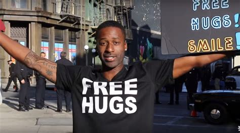 free hug guy man offers free hugs at trump rally it goes as well as