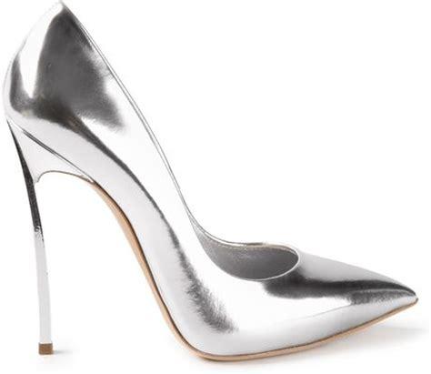 silver metallic high heel shoes casadei high heel pumps in silver metallic lyst