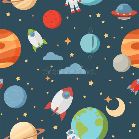 space pattern background free seamless children cartoon space pattern stock illustration