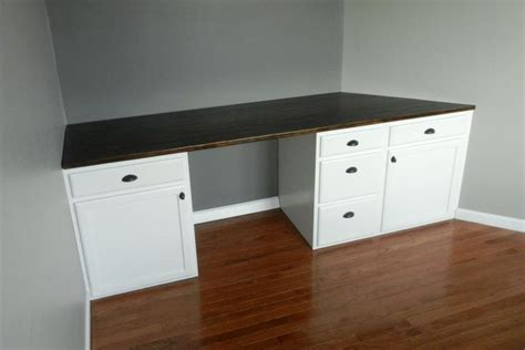 Diy Built In Desk Diy Built In Desk Using Kitchen Cabinets After Cutting Toe Kick Studio Office Ideas