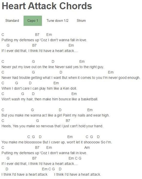 tattooed heart chords with capo heart attack chords demi lovato gutair pinterest