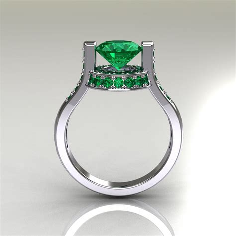 Italienische Trauringe by Italian Bridal 10k White Gold 1 5 Carat Emerald Wedding