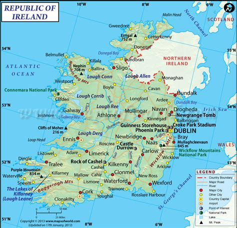 printable map ireland counties towns ireland on map thinglink