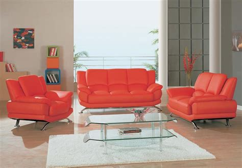 Contemporary Red Leather Sofa Set 2818 Charlotte North Carolina Living Room Furniture
