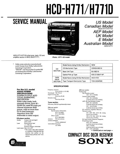 Sony Hcd H771 Service Manual Immediate Download