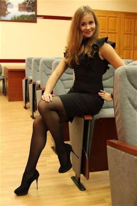 black dress black and black high heels office