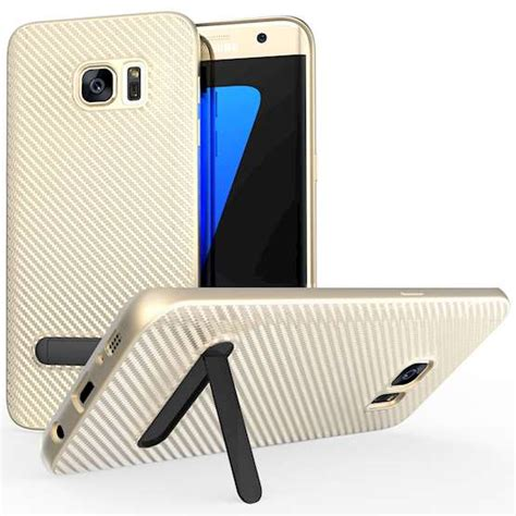Slim Carbon Samsung S7 Edge by Samsung Galaxy S7 Edge Carbon Fibre Gel Cover Gold
