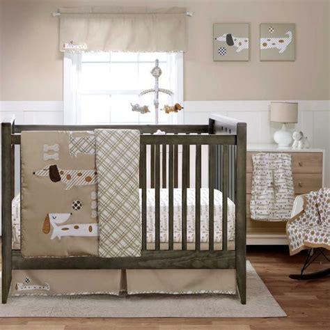 puppy crib bedding 3pc simple beige bone soccer puppy baby boy