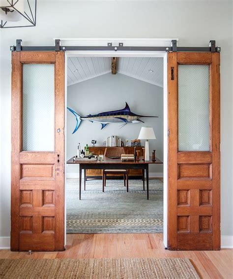 Vintage custom sliding barn door with window via etsy com