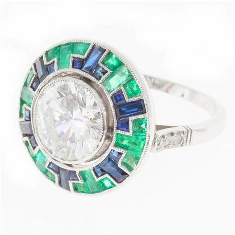 mosaic emerald sapphire platinum ring at 1stdibs