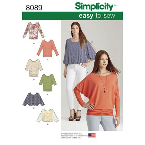 Pattern Knit Top pattern 8089 misses easy to sew knit tops