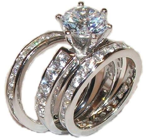 Rcc2597 Aksesoris Cincin Multi Ring Set cut wedding rings 3 wedding engagement wedding ring set solid 925 sterling silver situs