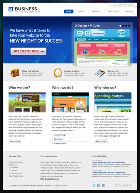 convert photoshop themes into html pages professional business template in photoshop psd hongkiat