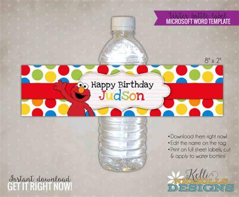 custom elmo water bottle label template sesame street