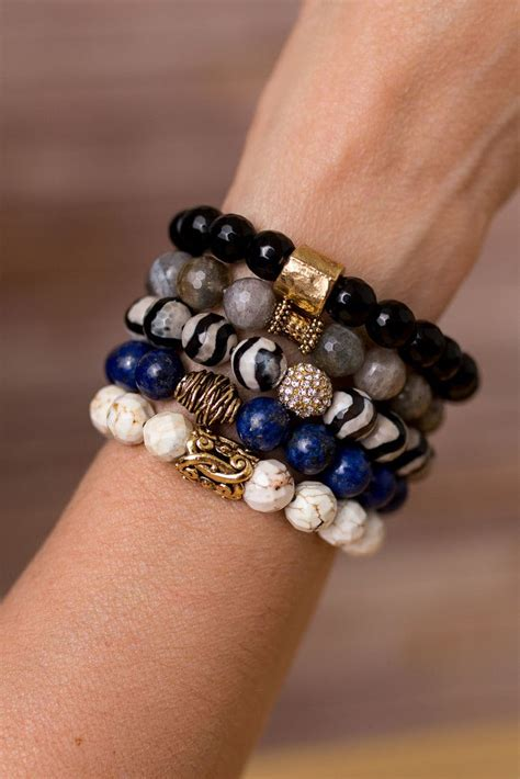 Handmade Beaded Bracelets Ideas - blue and black bracelet stack bracelet designs gemstone