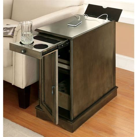 space saving end table furniture of america terra multi storage side table with