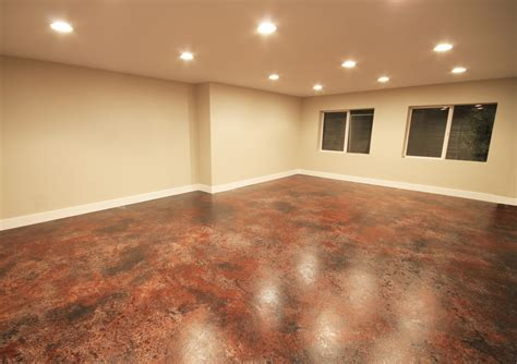 concrete floor finishes basement rooms